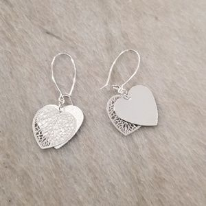 Silvertone Double Hearts Earrings